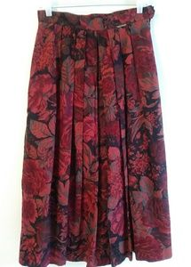Geiger Pleated Skirt long sz 38 Fall colors